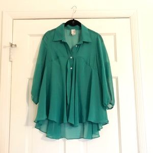 Francesca's sheer green flowy top